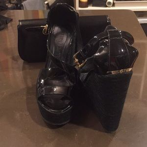 Burberry patent leather wedges